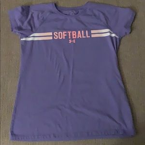 Girls Youth Large Under Armour Softball T-shirt